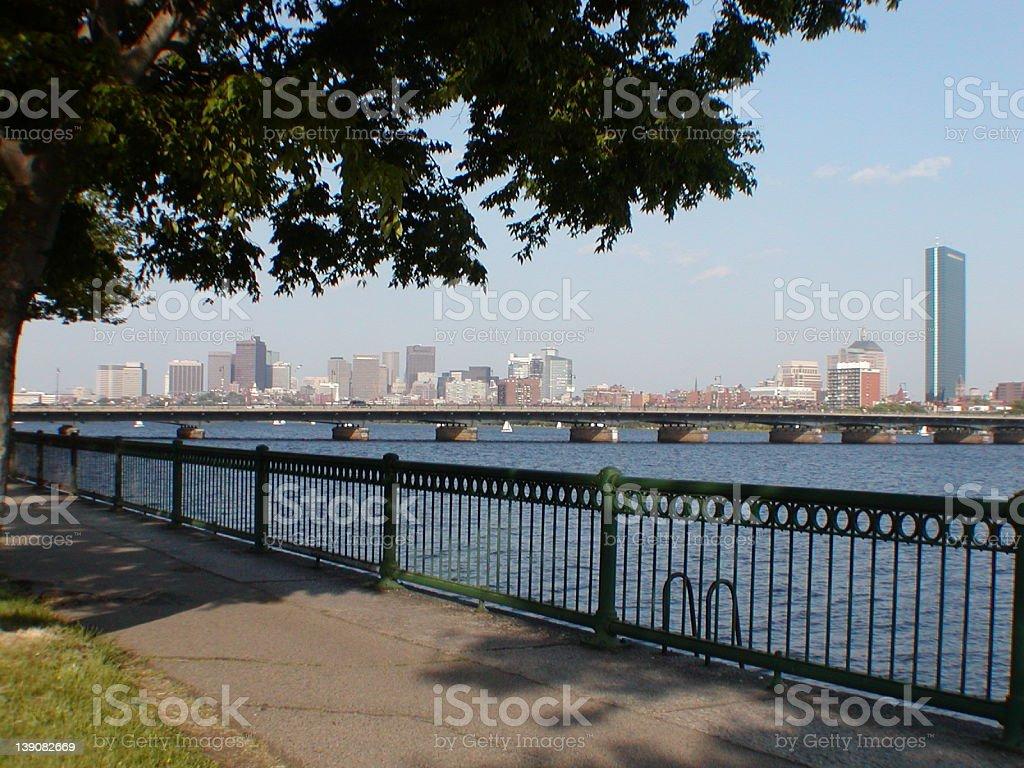 Boston Skyline across Charles River royalty-free stock photo