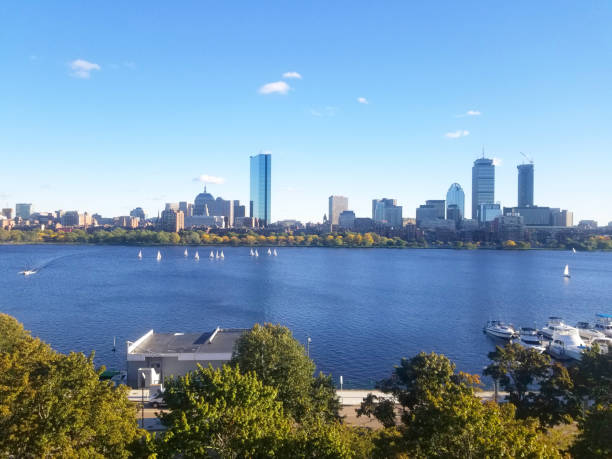Boston Skyline Across the Charles River. On a sunny day. stock photo