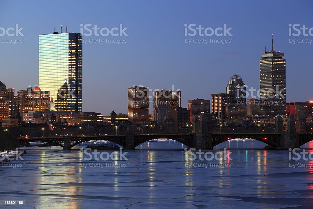 Boston Skyline across the Charles River royalty-free stock photo