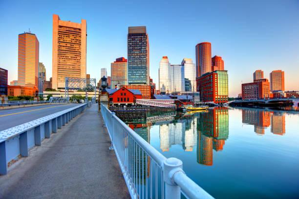 Boston skyline along Fort Point stock photo