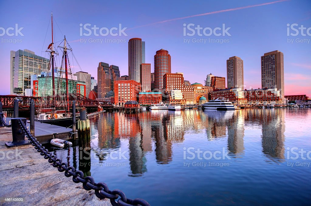 Boston Skyline along the Harborwalk stock photo