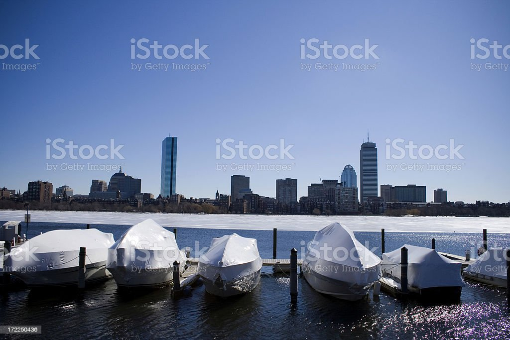Boston Skyline and Boats in Winter stock photo