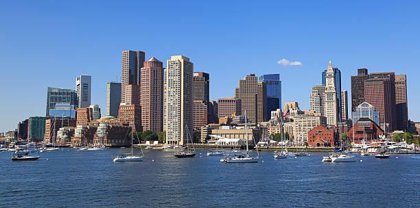 Boston skyline and harbor, USA stock photo