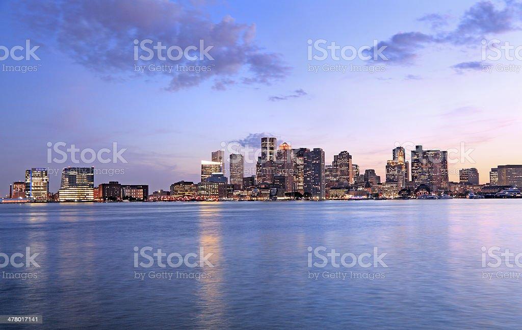 Boston skyline at dusk royalty-free stock photo