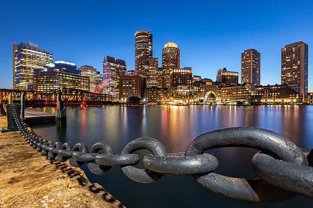 Boston skyline at dusk stock photo