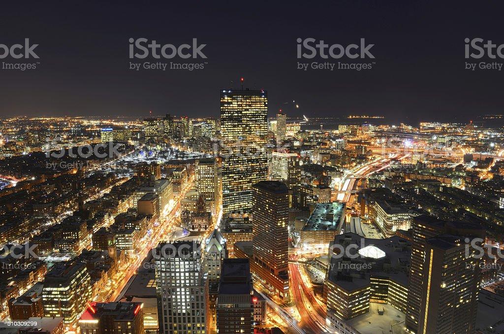 Boston Skyline at night, Massachusetts, USA stock photo