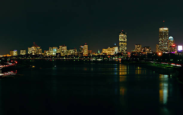 Boston Skyline at Night #1 stock photo