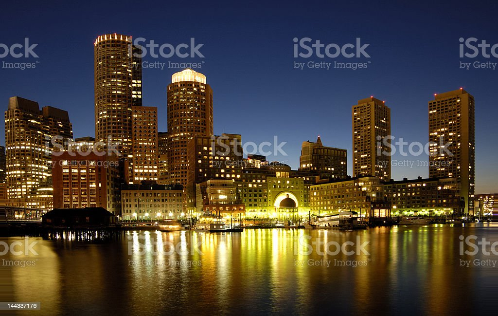 Boston skyline at night royalty-free stock photo