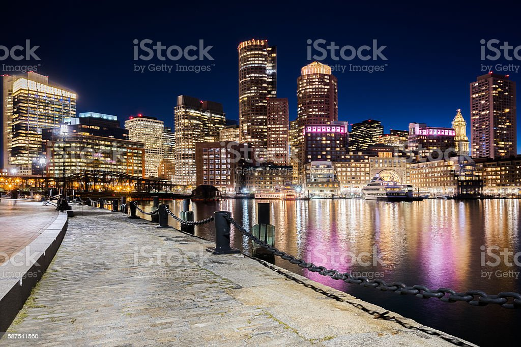 Boston Skyline at night (Panorama) stock photo