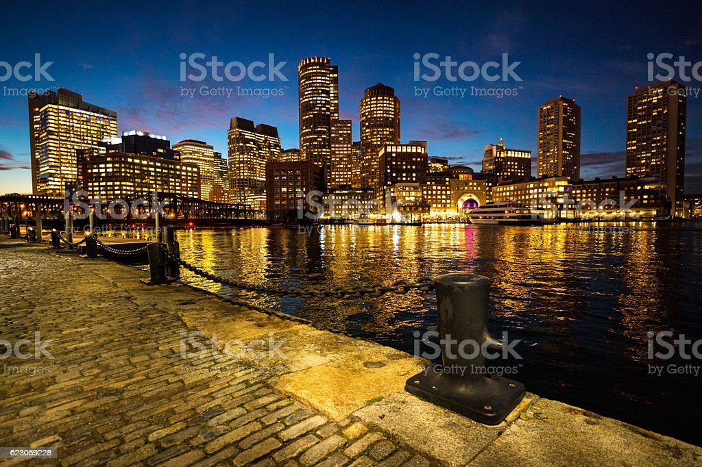 Boston skyline at night stock photo