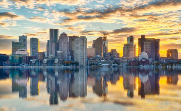 Boston Skyline at Sunset stock photo