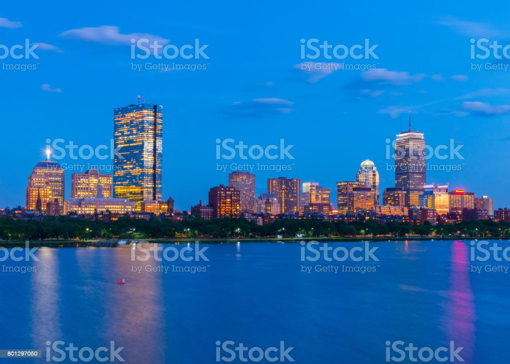 Boston skyline at the evening. Skyscrapers and office buildings in Back Bay. Massachusetts, USA stock photo