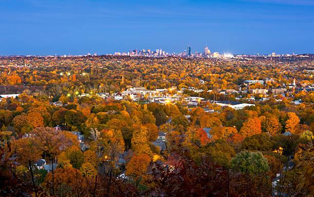 Boston skyline at twilight stock photo