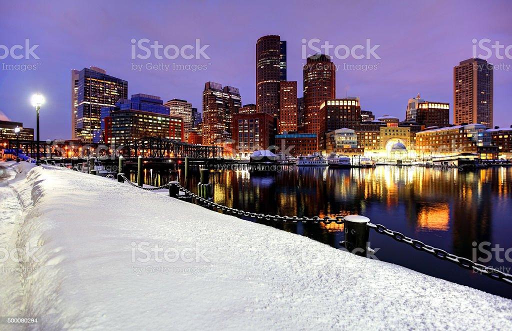 Boston skyline during the historic 2015 winter stock photo