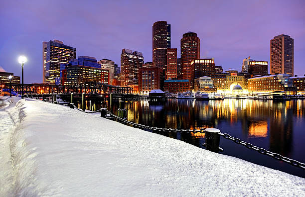 Boston skyline during the historic 2015 winter stock photo