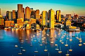 This picture is a sunrise in Boston Massachusetts looking down from a drone