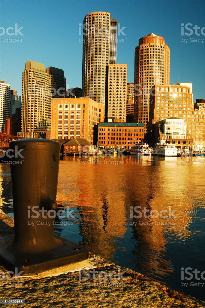 Boston skyline from Fan Pier stock photo