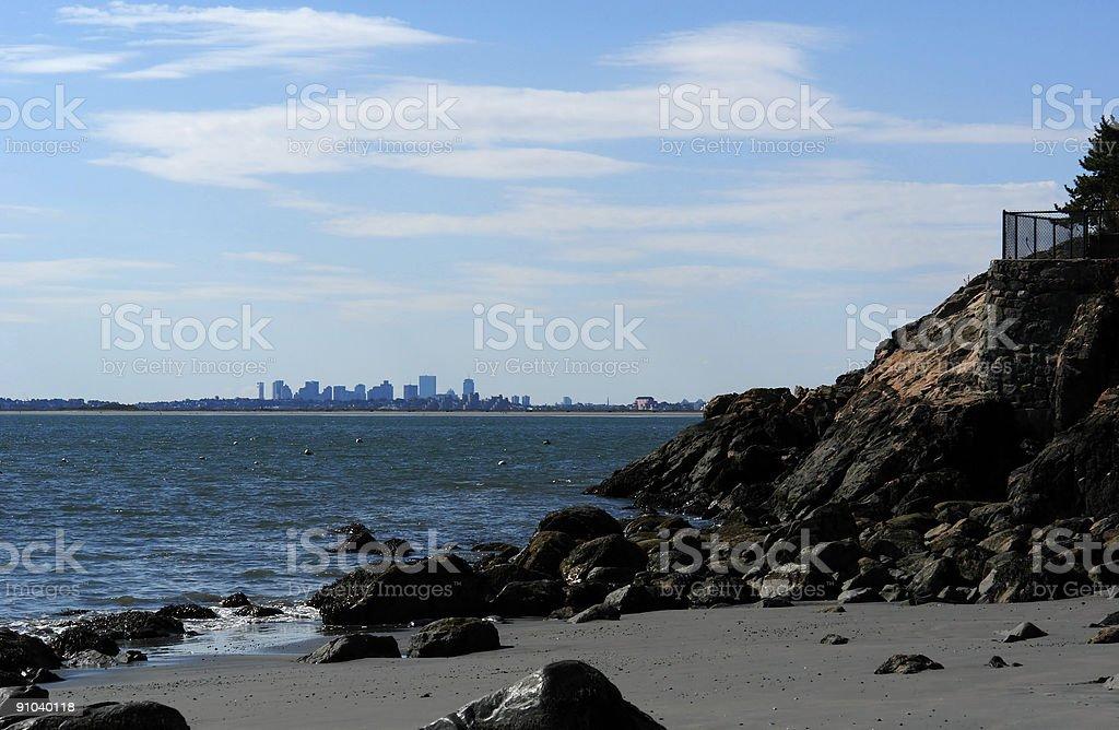 Boston Skyline from far away beach stock photo