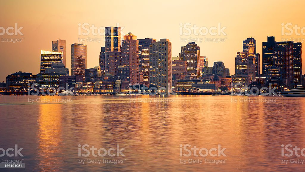 Boston skyline from the south port at night royalty-free stock photo