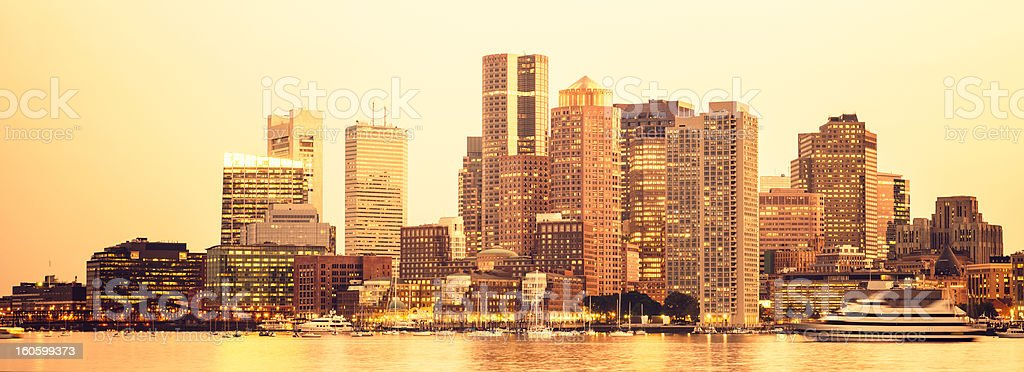 Boston skyline from the south port at sunset royalty-free stock photo