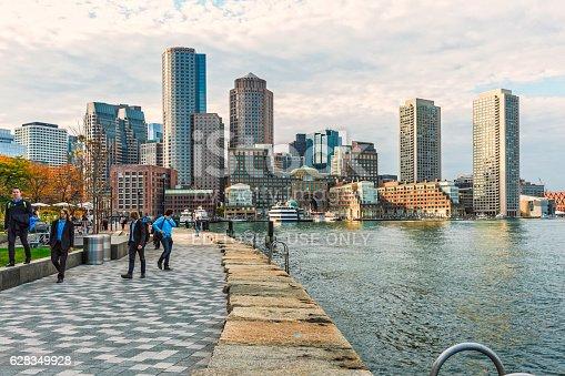 istock Boston Skyline - Harbor and Financial District 628349928