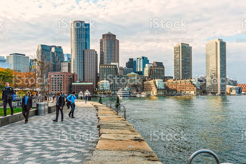 Boston Skyline - Harbor and Financial District stock photo