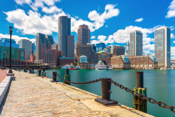 Boston skyline in sunny summer day, view from harbor on downtown, Massachusetts, USA stock photo