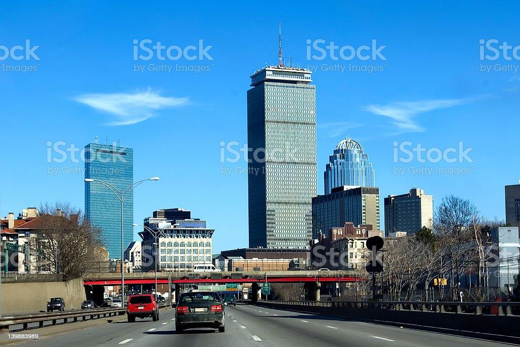 Boston skyline. Masspike stock photo