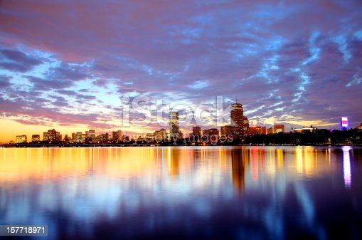 Boston's Back Bay skyline reflecting on the Charles River at sunset. Boston is the largest city in New England, the capital of the state of Massachusetts. Boston is known for its central role in American history,world-class educational institutions, cultural facilities, and champion sports franchises.