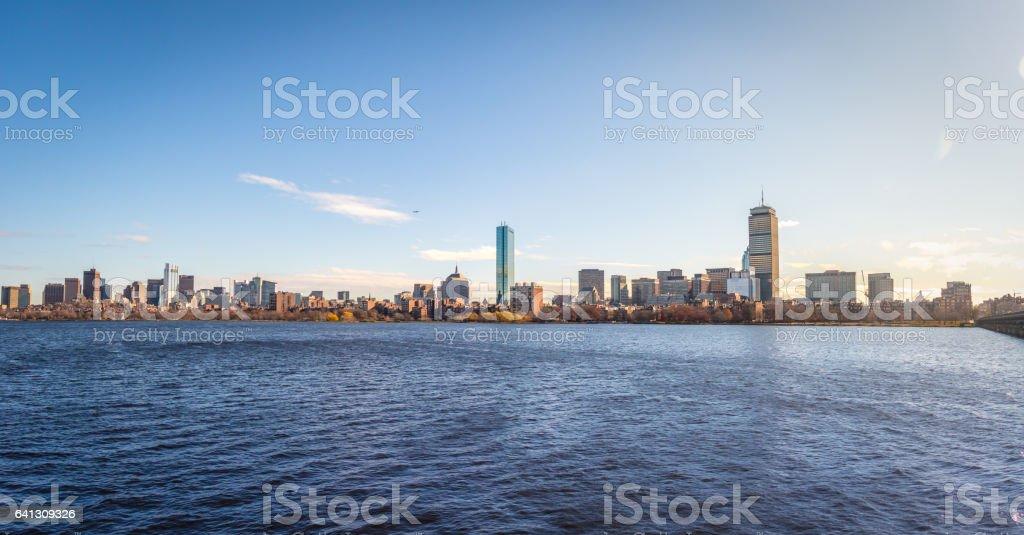 Boston skyline seen from Cambridge - Massachusetts, USA stock photo