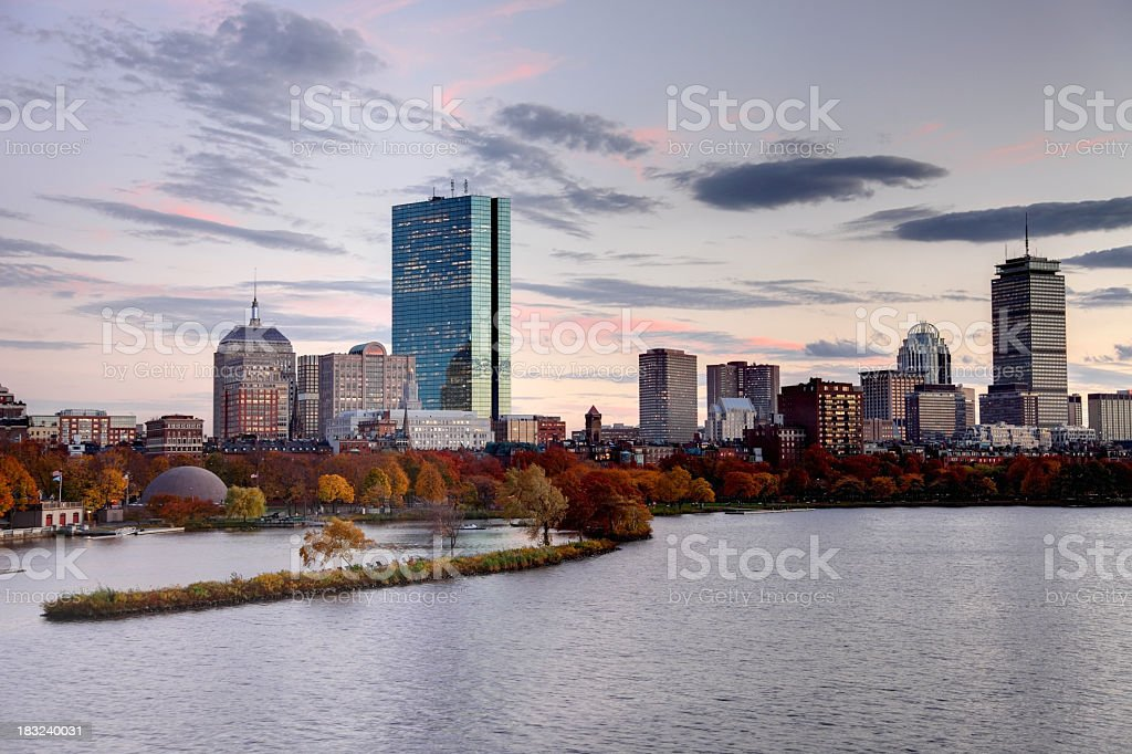Boston Skyline seen from the Charles River stock photo