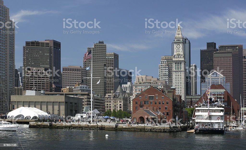 Boston skyline, tourist harbour royalty-free stock photo