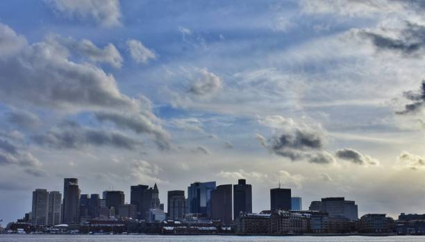 Boston Skyline with Clouds stock photo