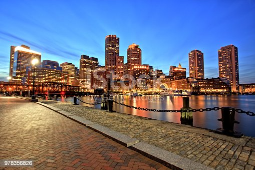 Boston Skyline with Financial District and Boston Harbor at Dusk