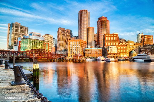Boston Skyline with Financial District and Boston Harbor at Sunrise, USA
