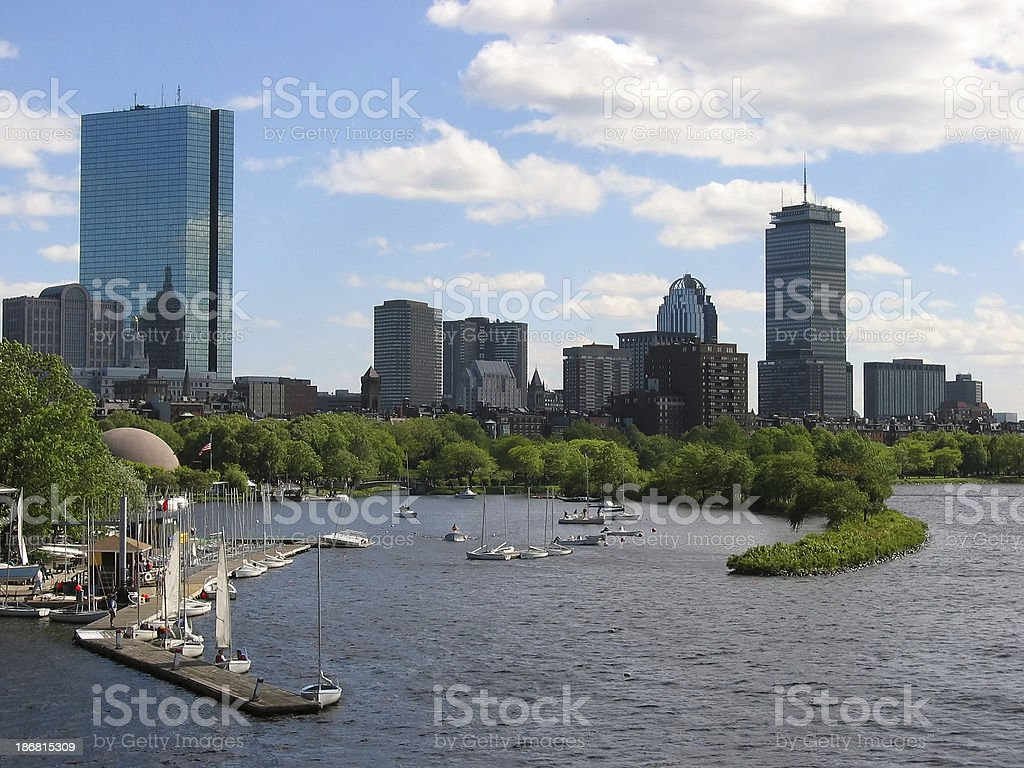 Boston Skyline with Sailboat Harbor stock photo