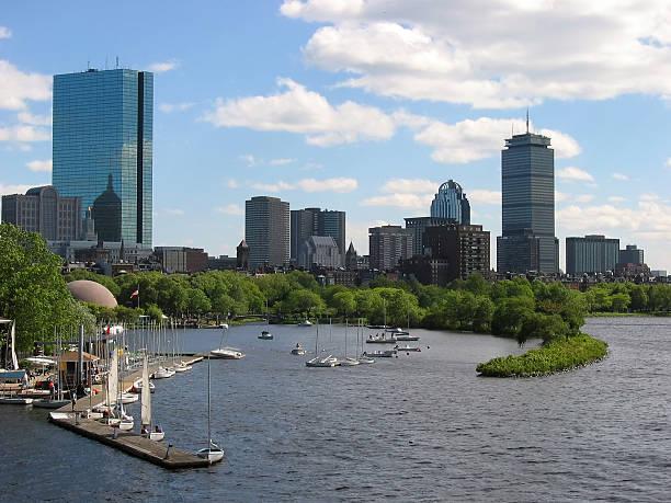 Boston Skyline with Sailboat Harbor stock photo