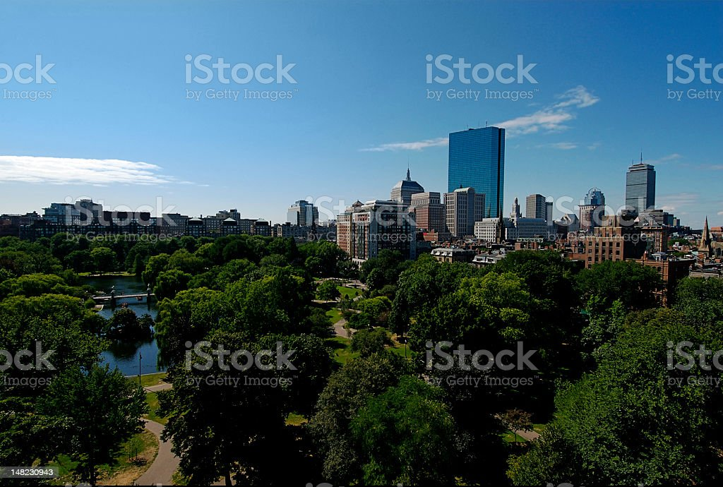 Boston Skyline with the Commons royalty-free stock photo