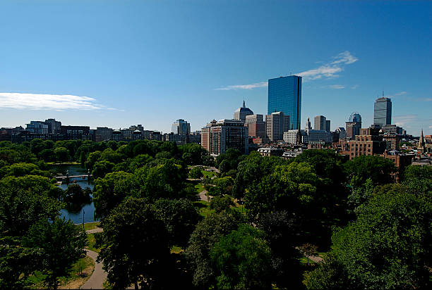 Boston Skyline with the Commons stock photo
