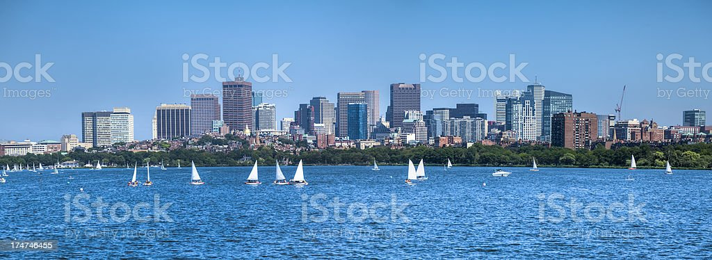 Boston Skyscrapers and the Charles River royalty-free stock photo