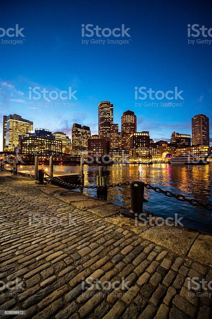 Boston skyscrapers at night stock photo