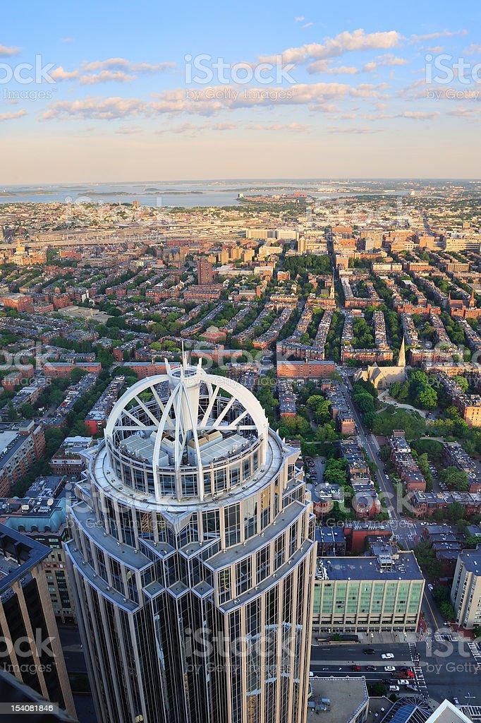 Boston street aerial view stock photo