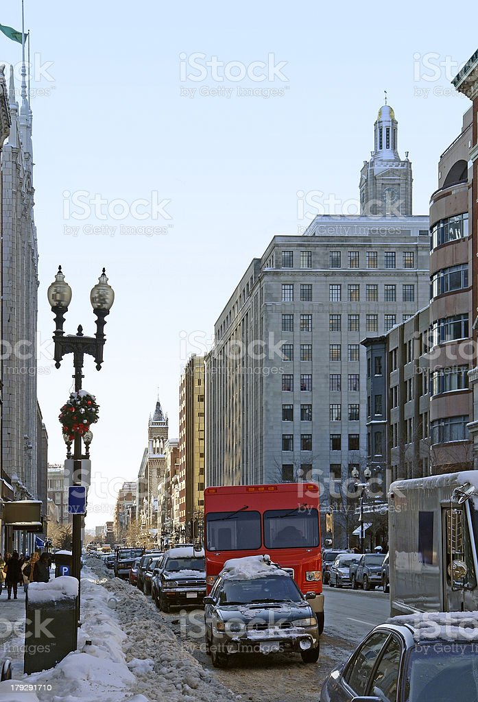 Boston street scenery at winter time royalty-free stock photo