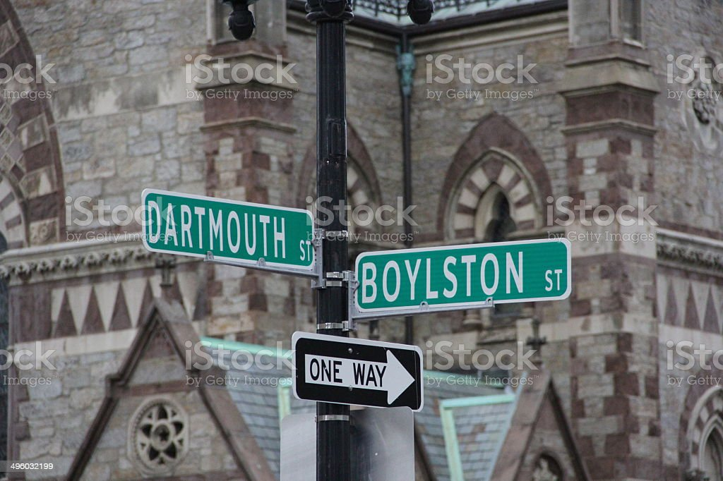 Boston street signs stock photo