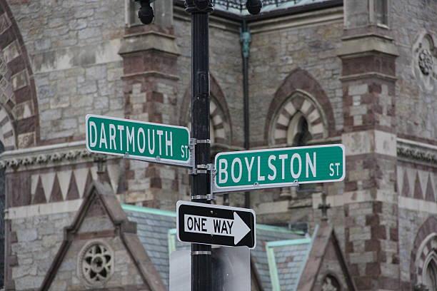 boston street signs - boston marathon stock photos and pictures