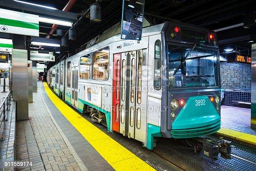Boston, USA - April 24, 2017: Boston Subway (Massachusetts Bay Transportation Authority, MBTA), located in Boston, Massachusetts, USA.