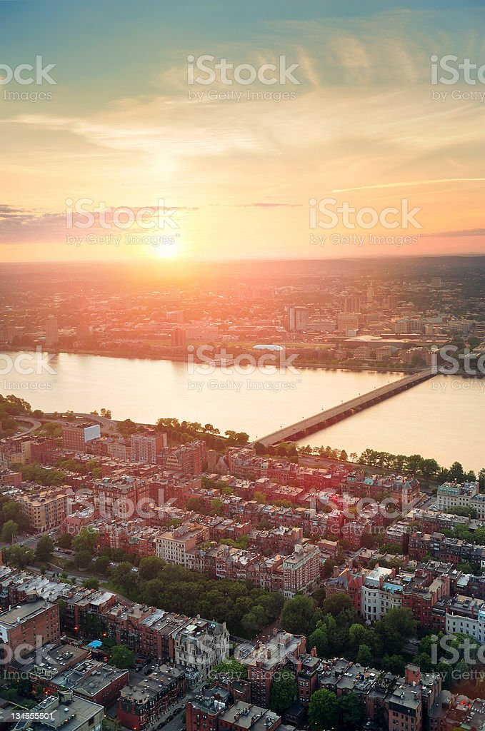 Boston Sunset stock photo