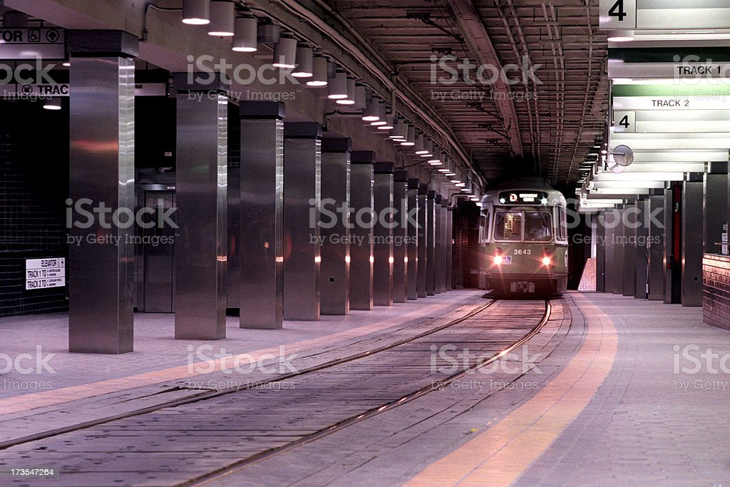 Boston T oncoming train stock photo