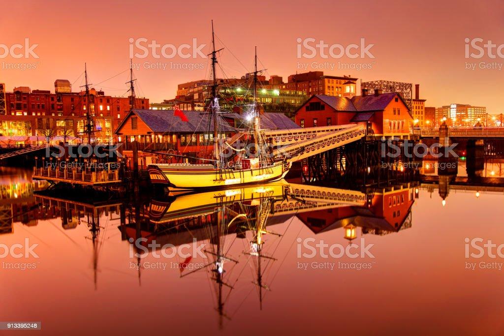 Boston Tea Party Ships along the Waterfront stock photo