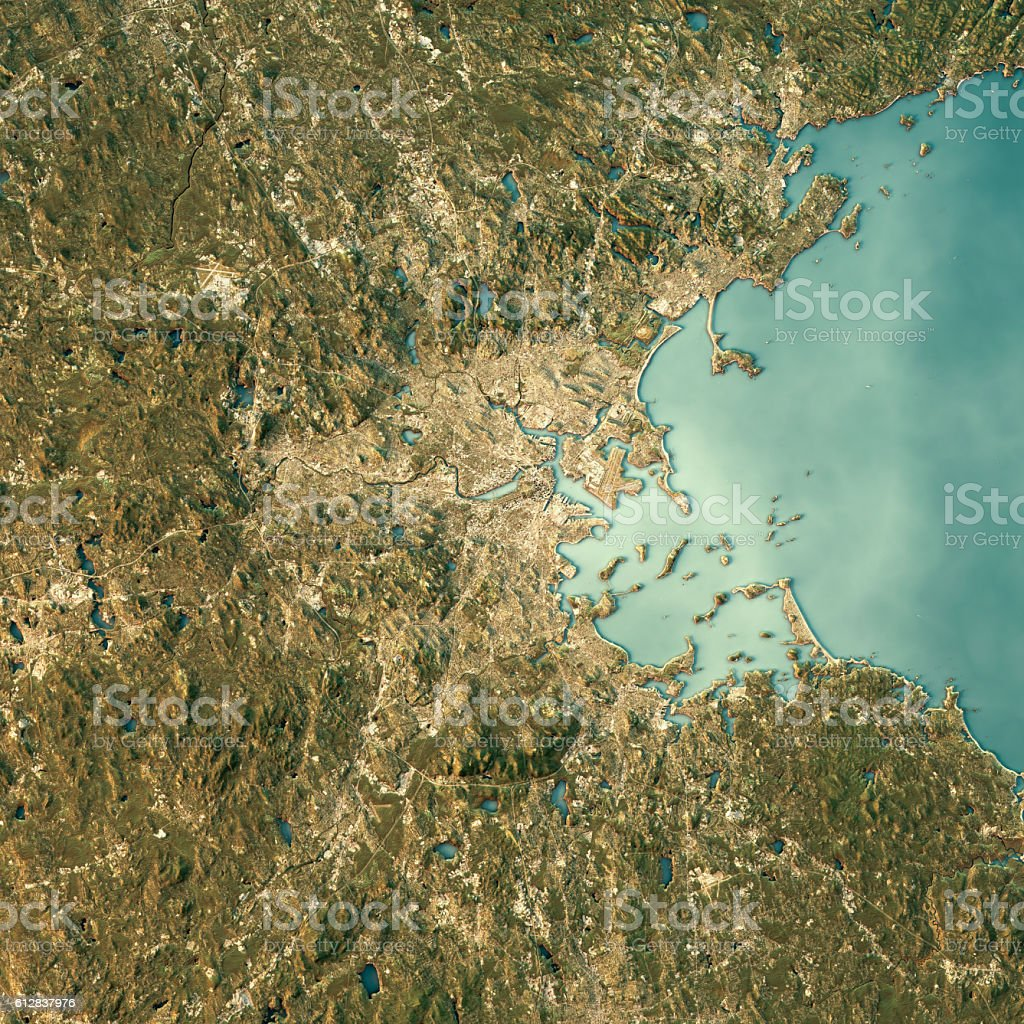 Boston Topographic Map Natural Color Top View stock photo